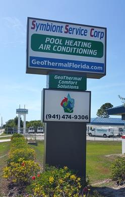 Pool Heating and Air Conditioning Sign